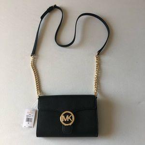 "32ae254e4d Michael Kors Bags - Michael Kors Black ""Vanna"" Lg Phone Crossbody"